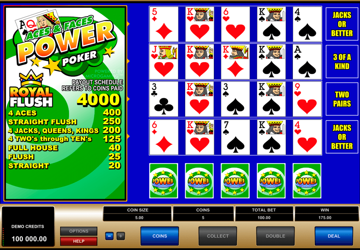 aces and faces 4 play power poker microgaming