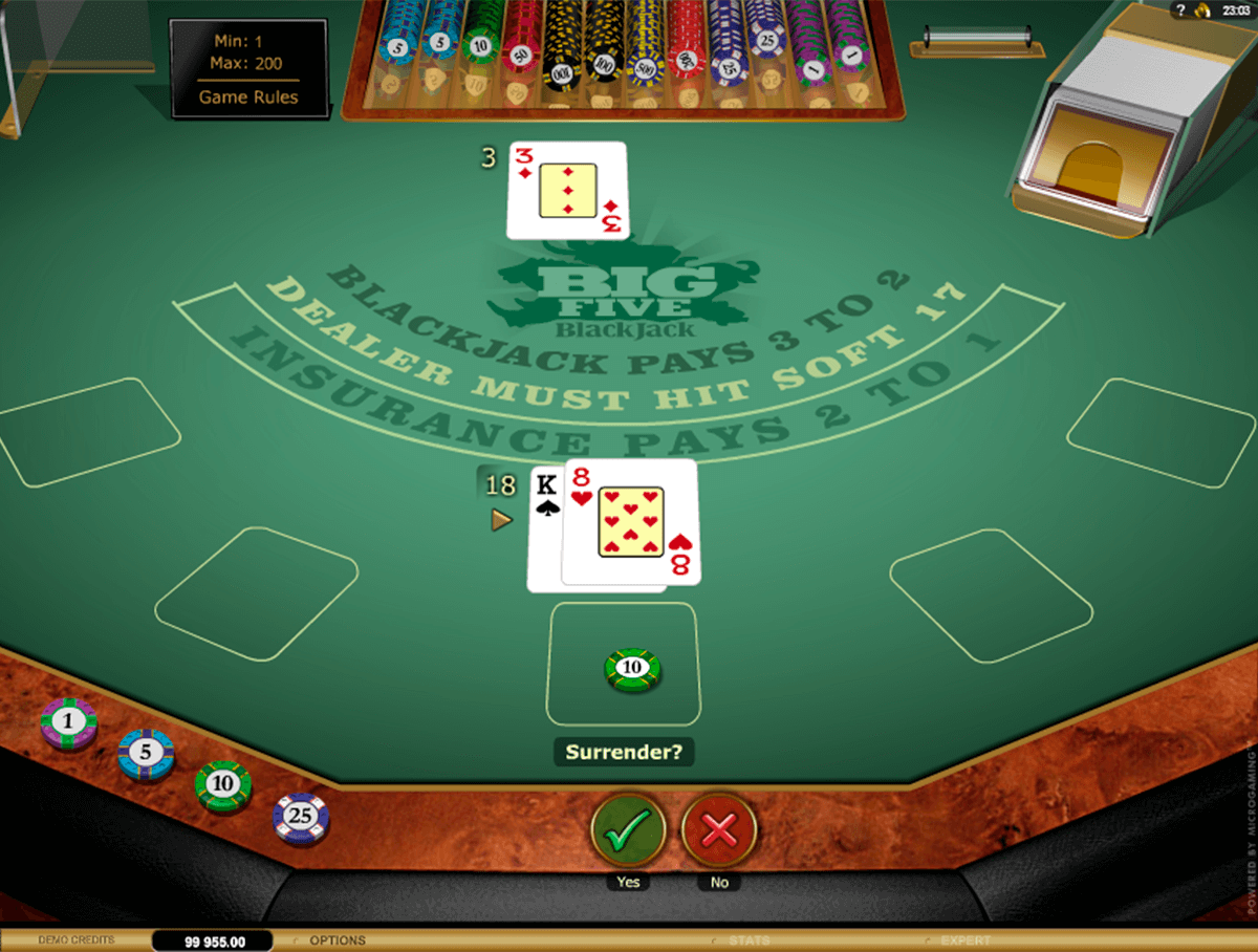 big 5 blackjack gold microgaming