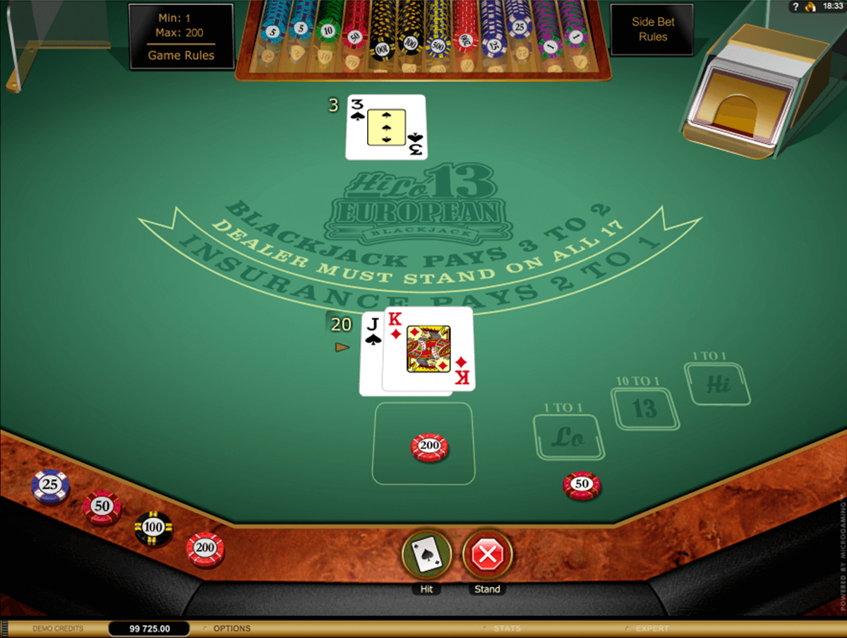 hi lo european blackjack gold series microgaming