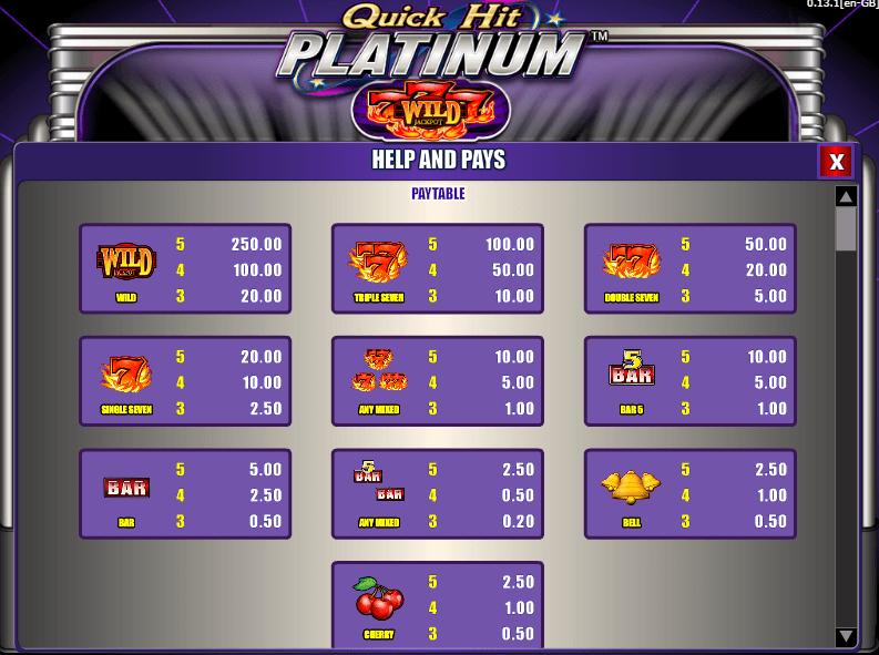 Símbolos de Quick Hit Platinum tragamonedas
