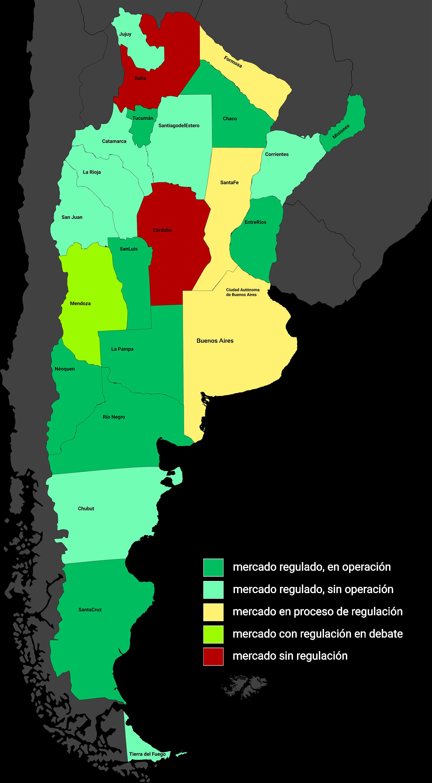 Mapa de regulación de casinos en Argentina